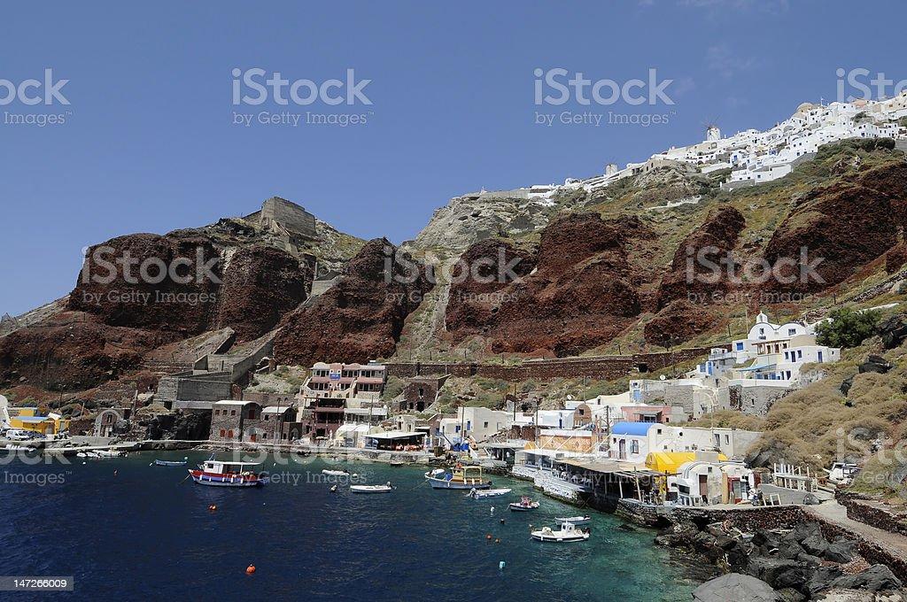 Ammoudi Harbour in Santorini stock photo
