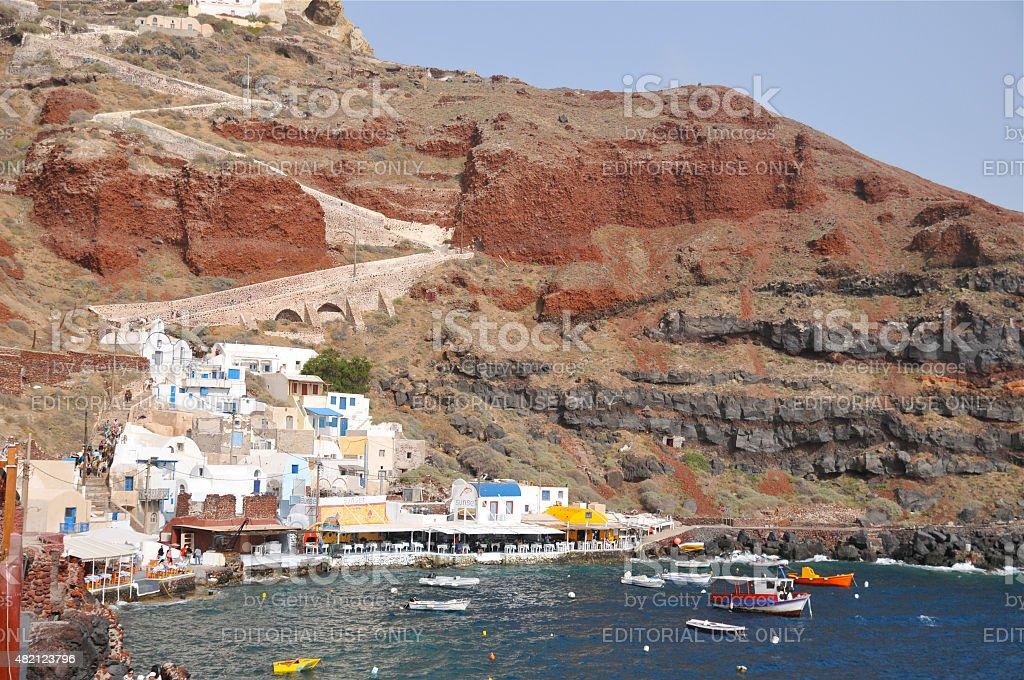 Ammoudi port, Oia stock photo