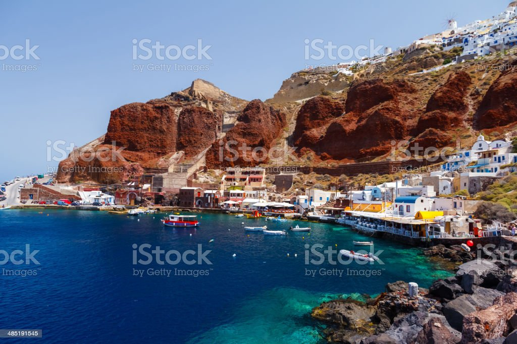 Ammoudi village in Santorini island stock photo