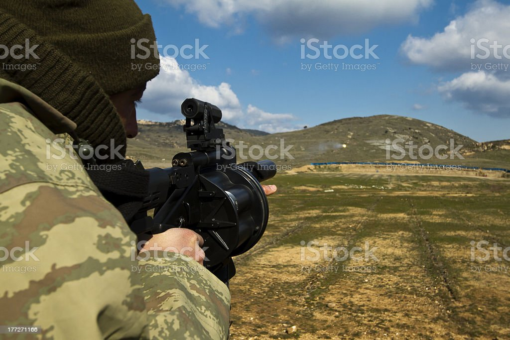 Ammunation goes to target. stock photo