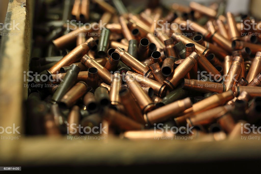 Ammunition, brass scales on the cartridges stock photo