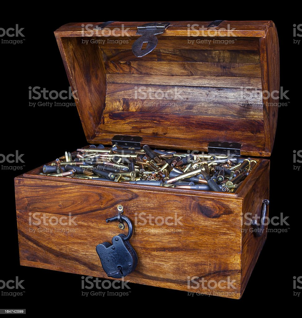 ammunition filled treasure chest stock photo