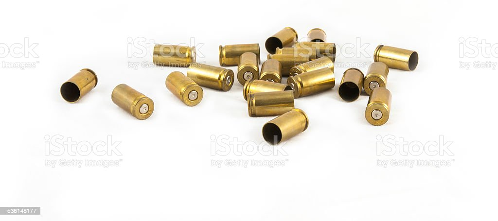 ammunition shell 9 mm. stock photo