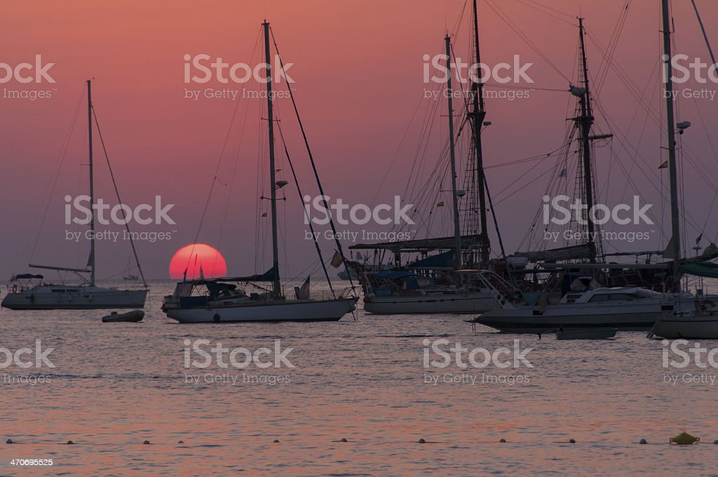 Among masts stock photo
