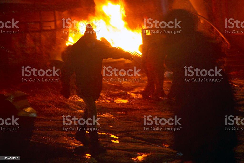 Among the flame burning stock photo
