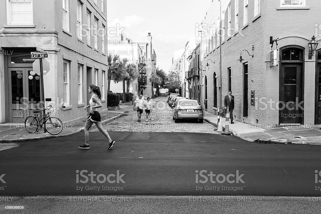 Jogging on East Bay Street in Charleston royalty-free stock photo