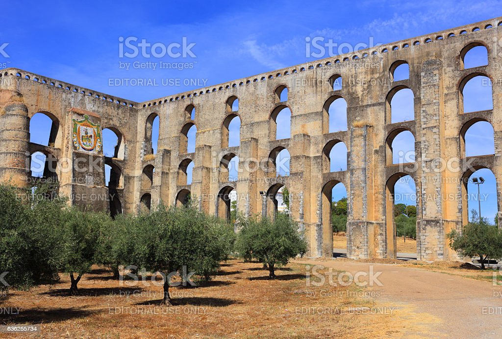 Amoreira Aqueduct in Elvas, Alentejo Region, Portugal. stock photo