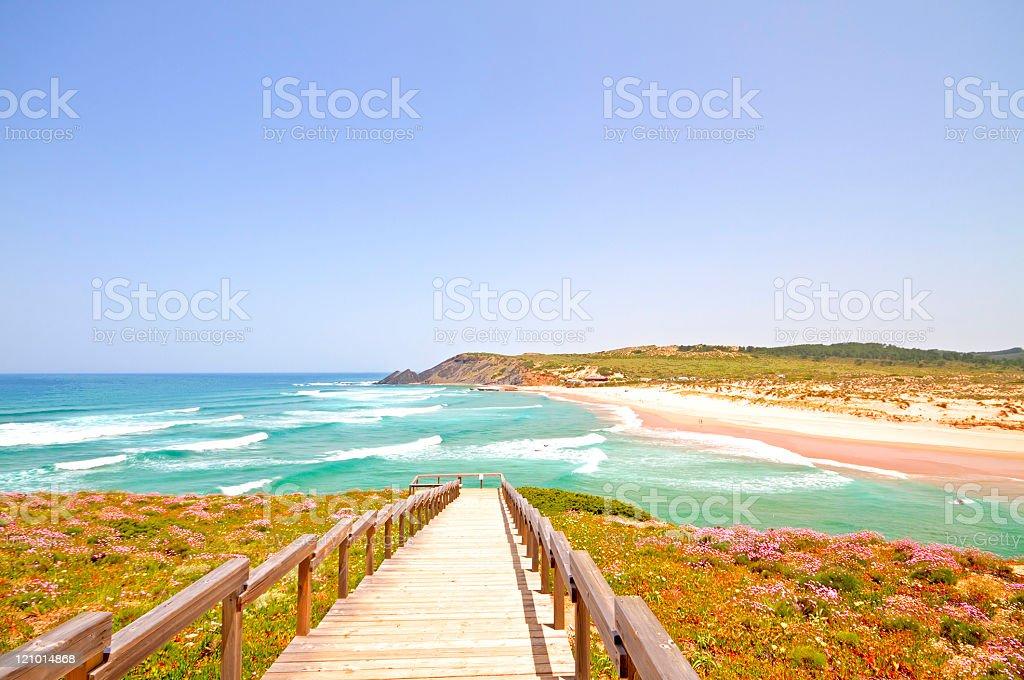 Amoreira beach in the Algarve Portugal stock photo