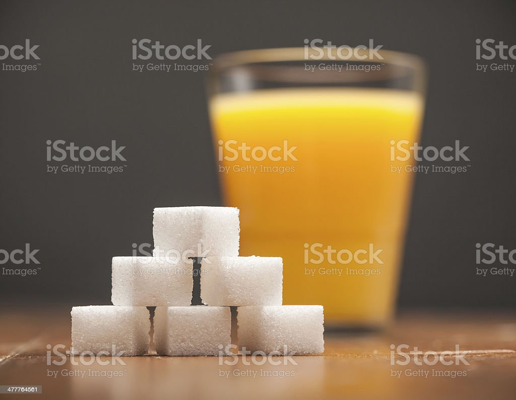 Amounts of Sugar In Food - Glass of Orange Juice stock photo