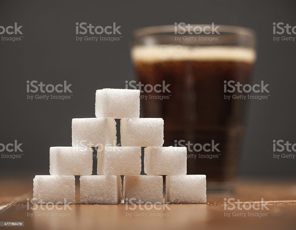 Amounts of Sugar In Food - Glass of Soda, Cola stock photo