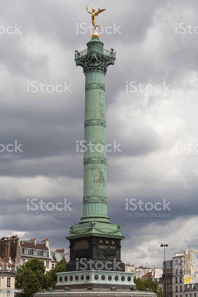amous monument in the Place de la Bastille stock photo