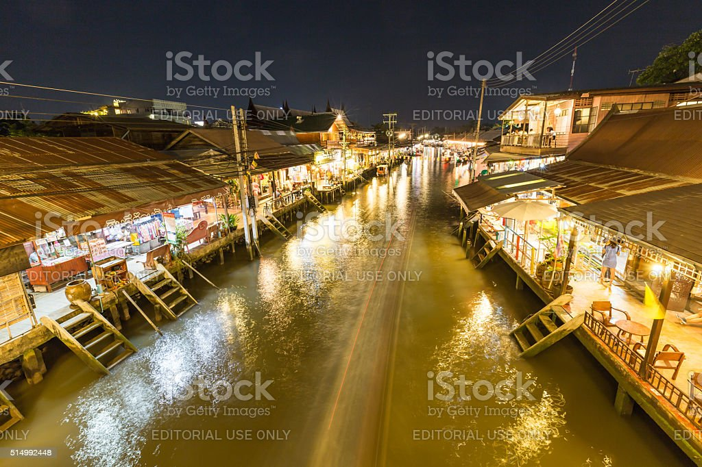 Ampahwa floating market. stock photo