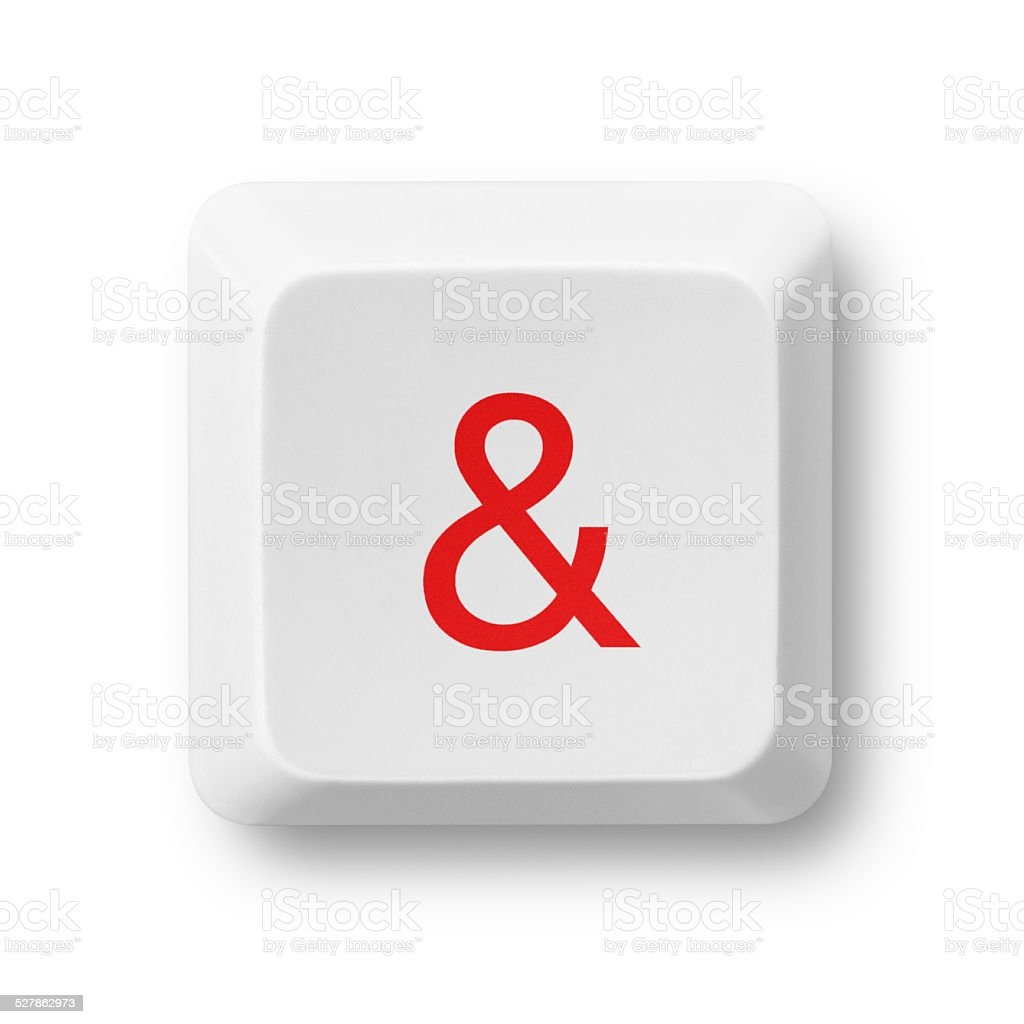 Ampersand character on a computer key isolated on white stock photo