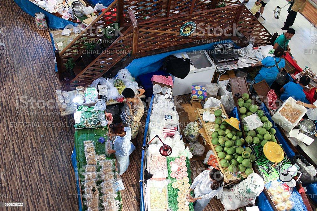 Amphawa Floating Market in Central Festival Chiangmai. stock photo