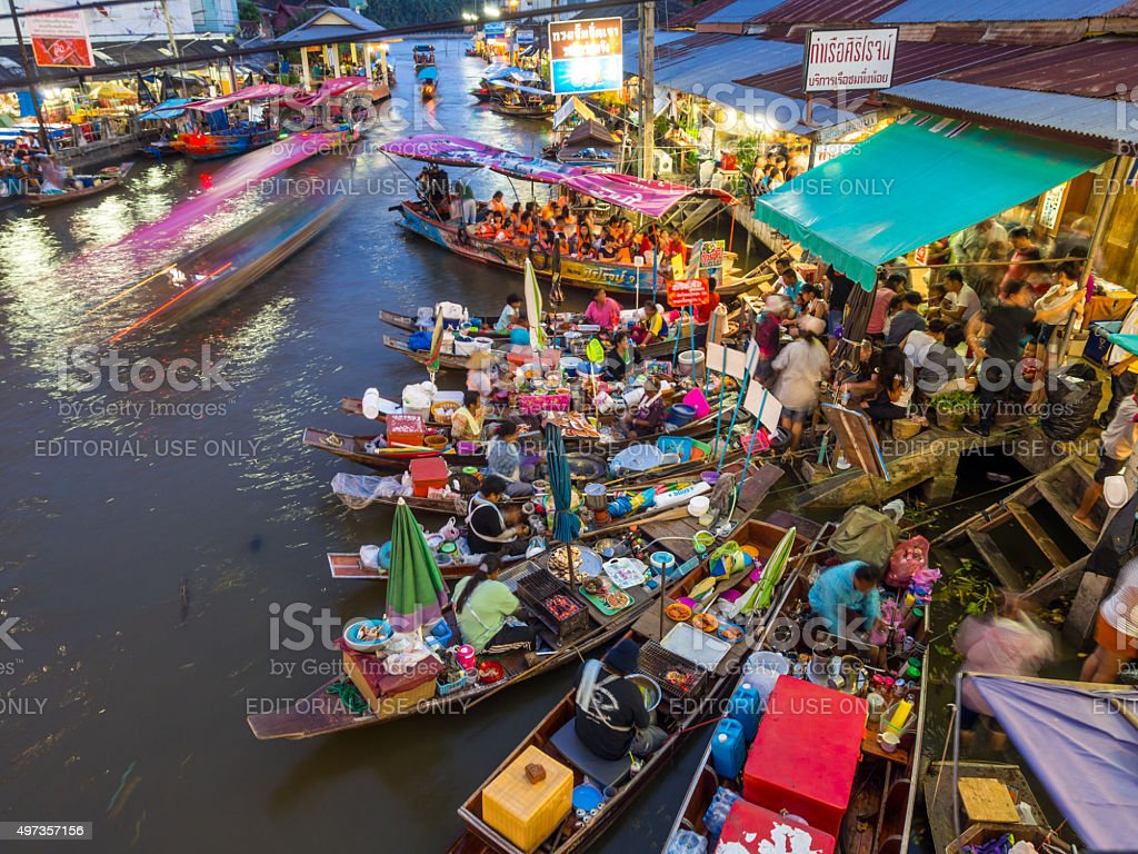 Amphawa Floating Market in Samut Songkhram, Thailand stock photo
