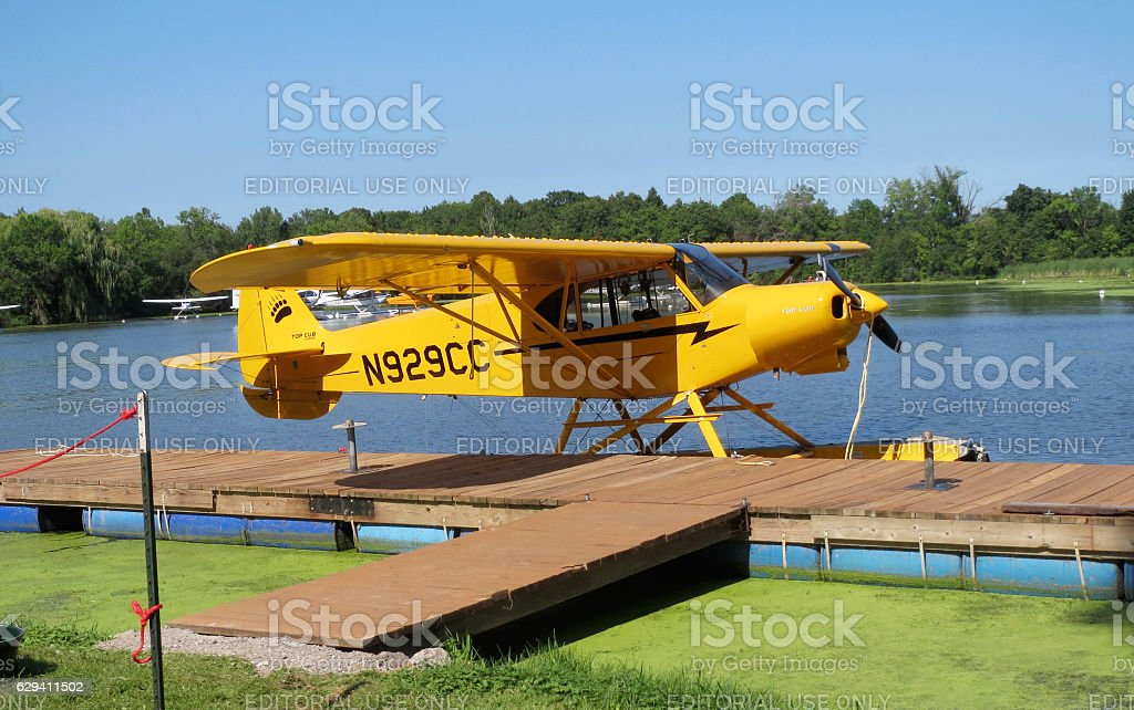 Amphibious aircraft parked at airshow stock photo