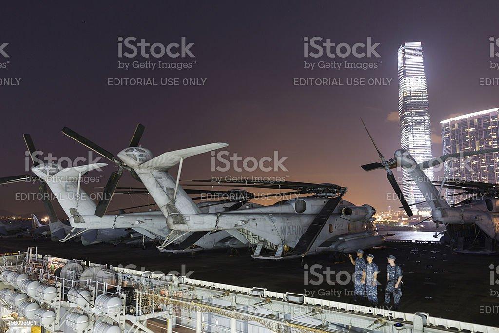 US Amphibious Assault Ship USS Bonhomme Richard (LHD-6) royalty-free stock photo