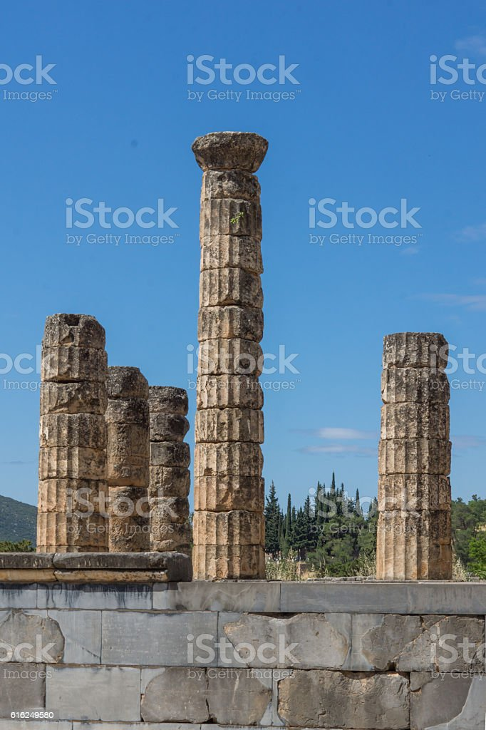 Amphitheater in Ancient Greek archaeological site of Delphi, Greece stock photo