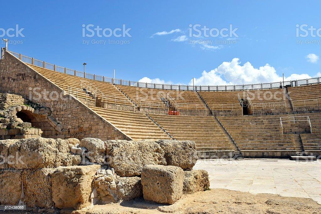 amphitheater in Caesarea Maritima, national park, Israel stock photo
