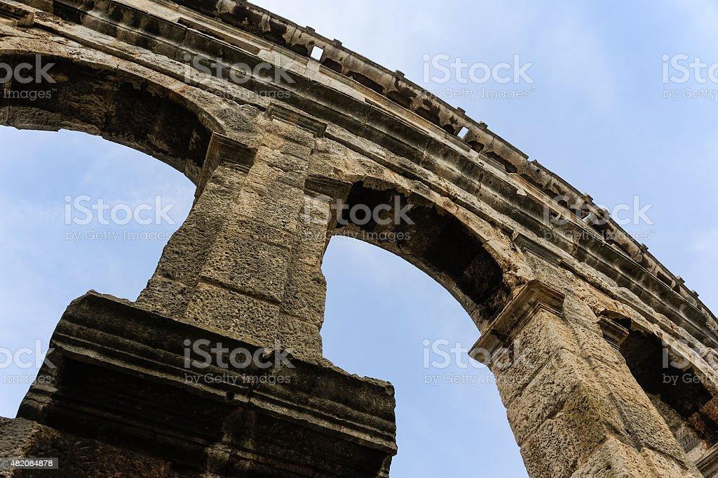 Amphitheater in Pula arcades arch stock photo