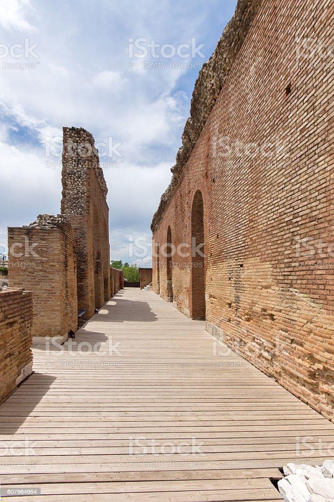 Amphitheater in Roman Odeon, Patras, Peloponnese, Greece stock photo
