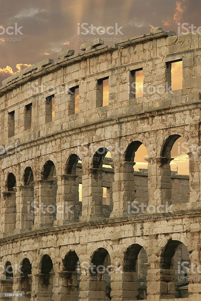 Amphitheater in sunset - Pula, Croatia royalty-free stock photo