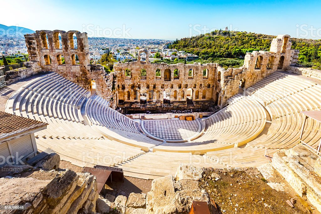 Amphitheater of Acropolis in Athens, Greece stock photo
