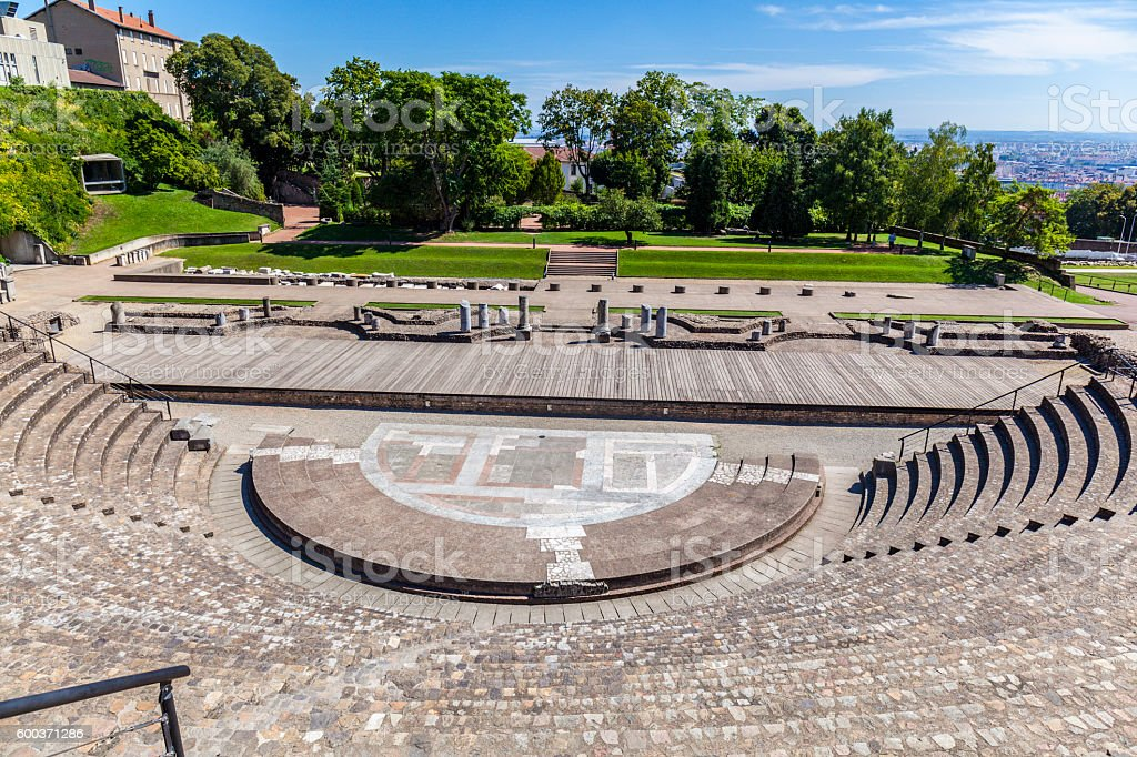 amphitheater of the Three Gauls in Fourviere above Lyon France stock photo