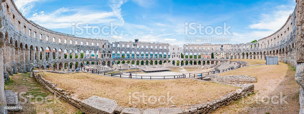 Amphitheater, Pula Arena, Roman architecture monument. Inside panorama. stock photo