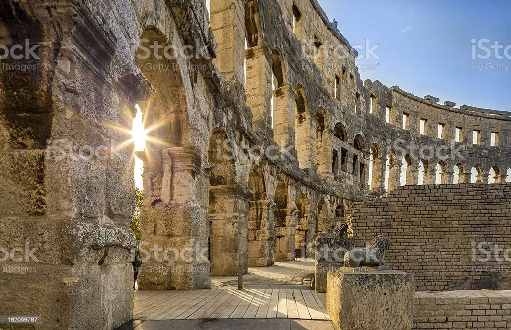 Amphitheater Pula, Croatia stock photo