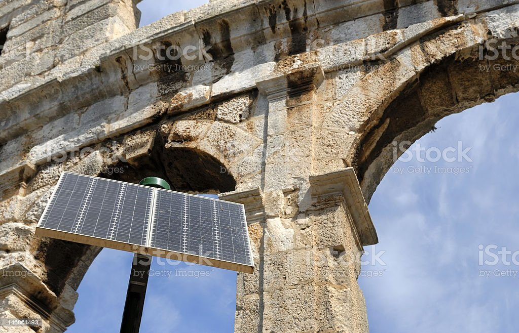 Amphitheater, Pula, Croatia with in front solar cell royalty-free stock photo