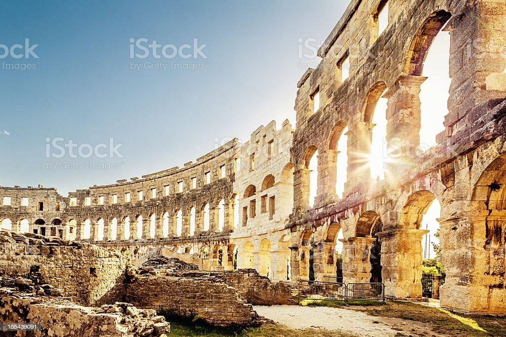 Amphitheater Pula,Croatia Landmark stock photo