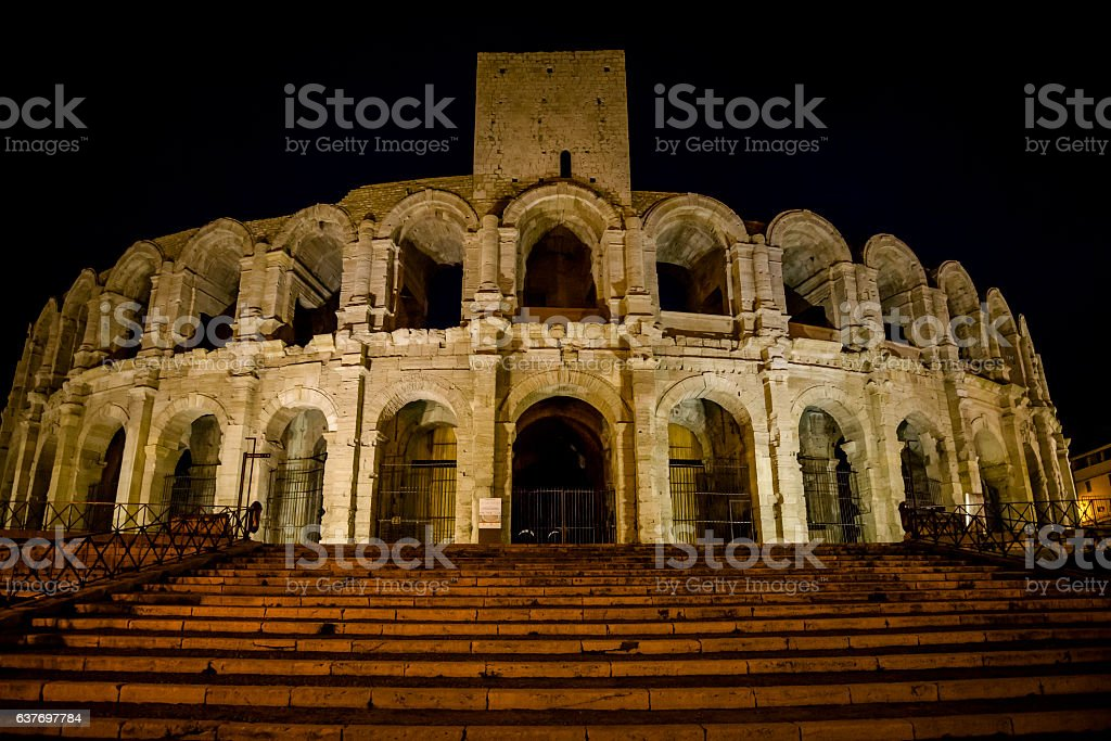 Amphitheatre at night, Arles, Bouches-du-Rhone, France stock photo