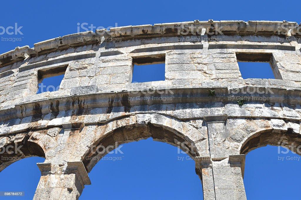 Amphitheatre in Pula (Croatia) stock photo