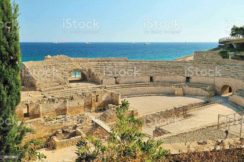 Amphitheatre in Tarragona, Spain, Catalonia stock photo