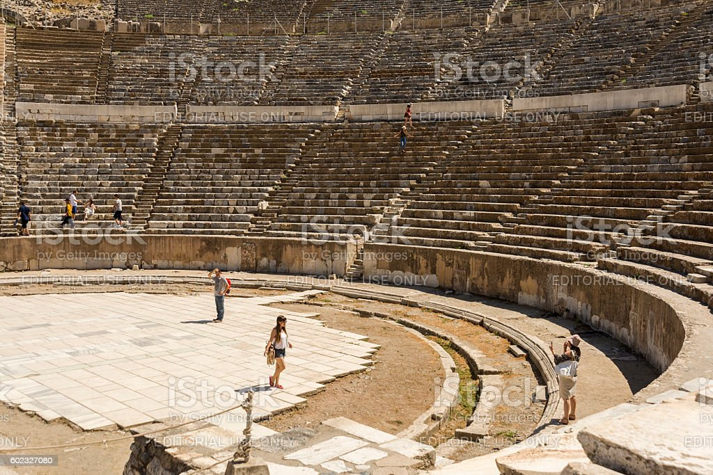 Amphitheatre of Ephesus ancient city. stock photo