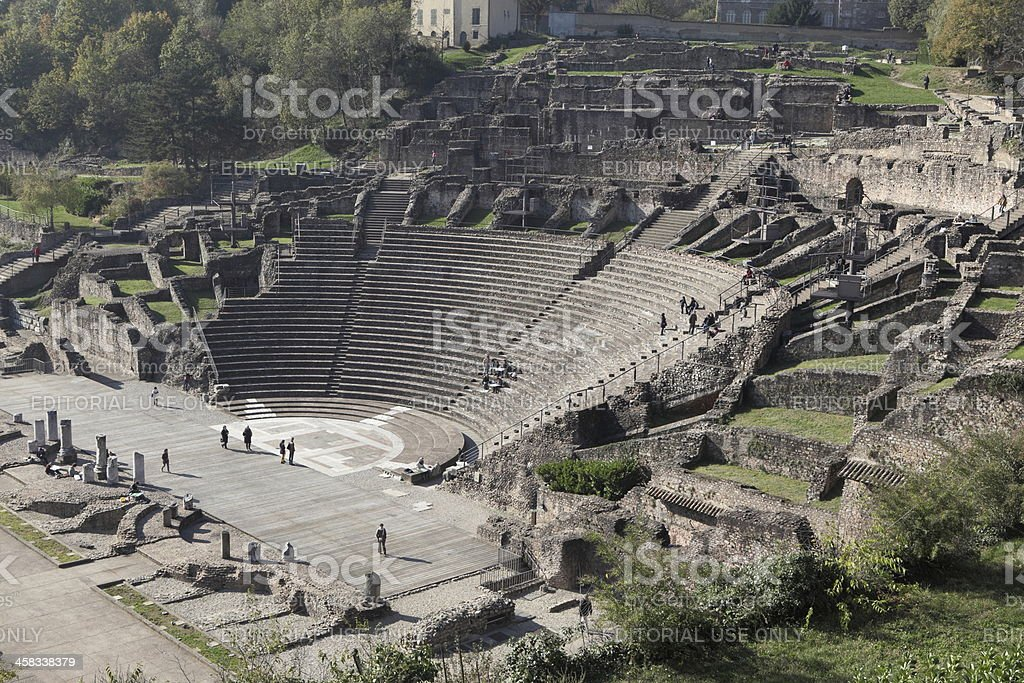 Amphitheatre of the Three Gauls in Lyon, France stock photo