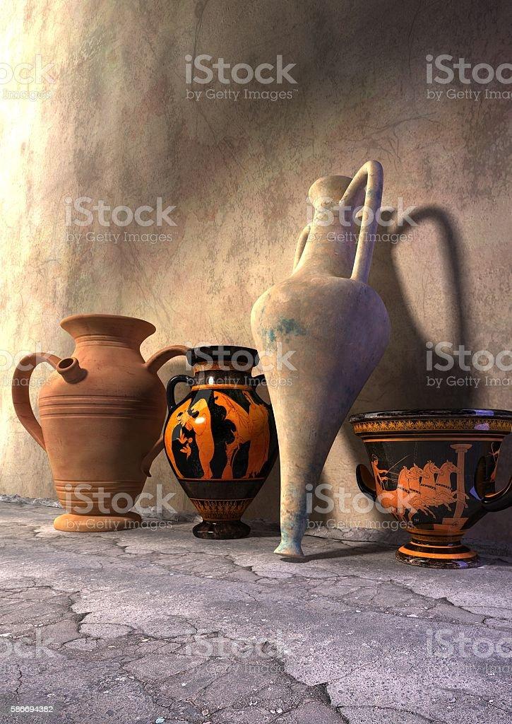 Amphorae and vases stock photo
