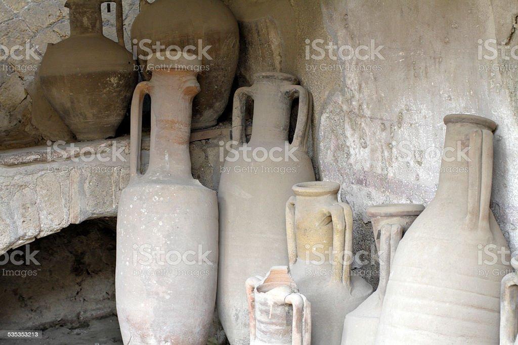 Amphorae ceramic containers at Herculaneum Italy stock photo