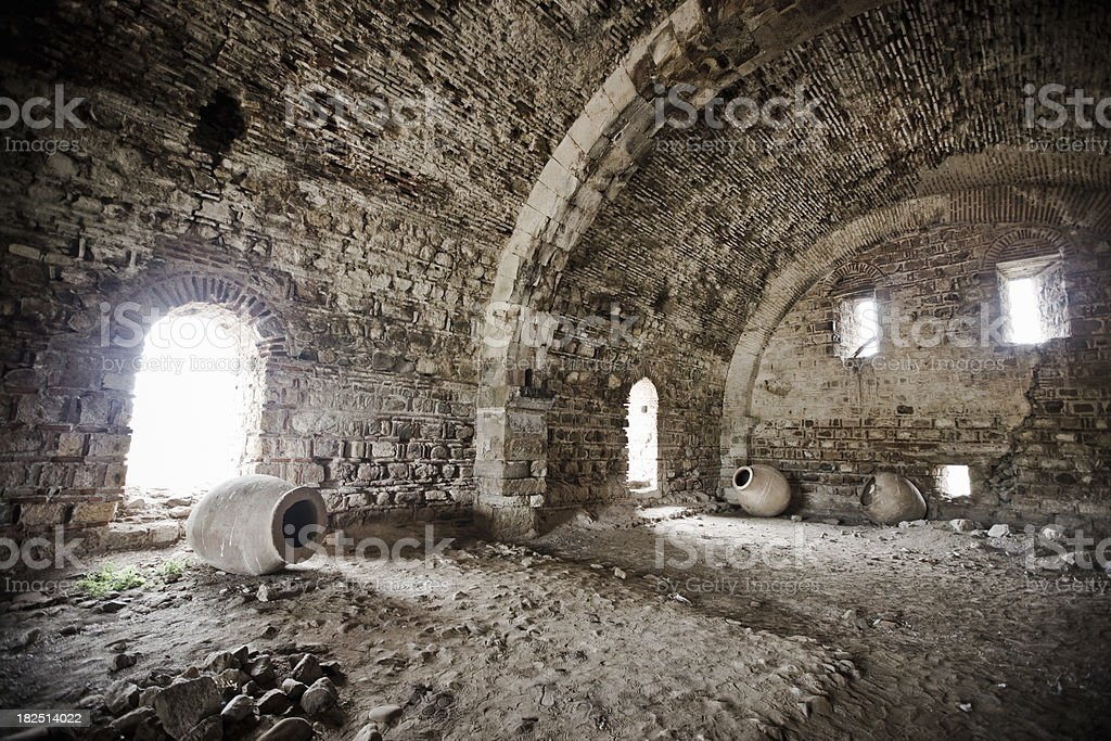 Amphoras in Greek Hot Bath Ruin Archaeological Site stock photo