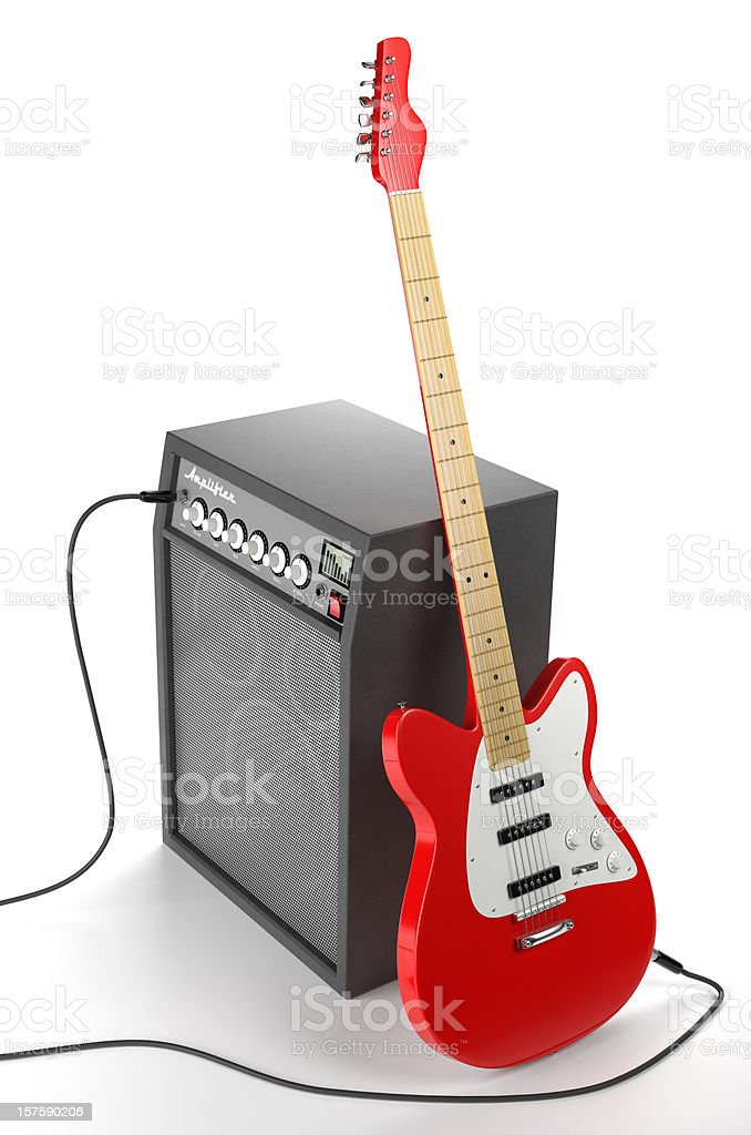 Amplifier and Electric Guitar stock photo