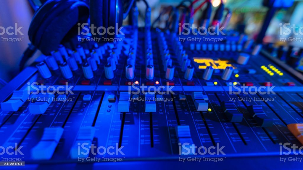 Amplifier and equalizer mixer switch of sound equipment. Selective focus. stock photo