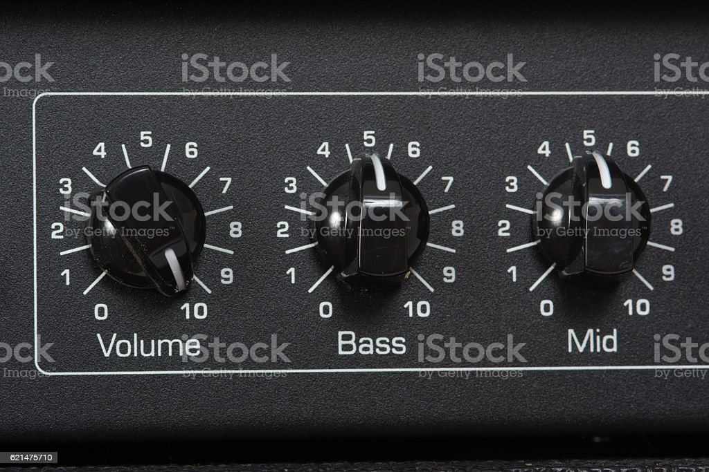 Amplifier Control Knobs stock photo