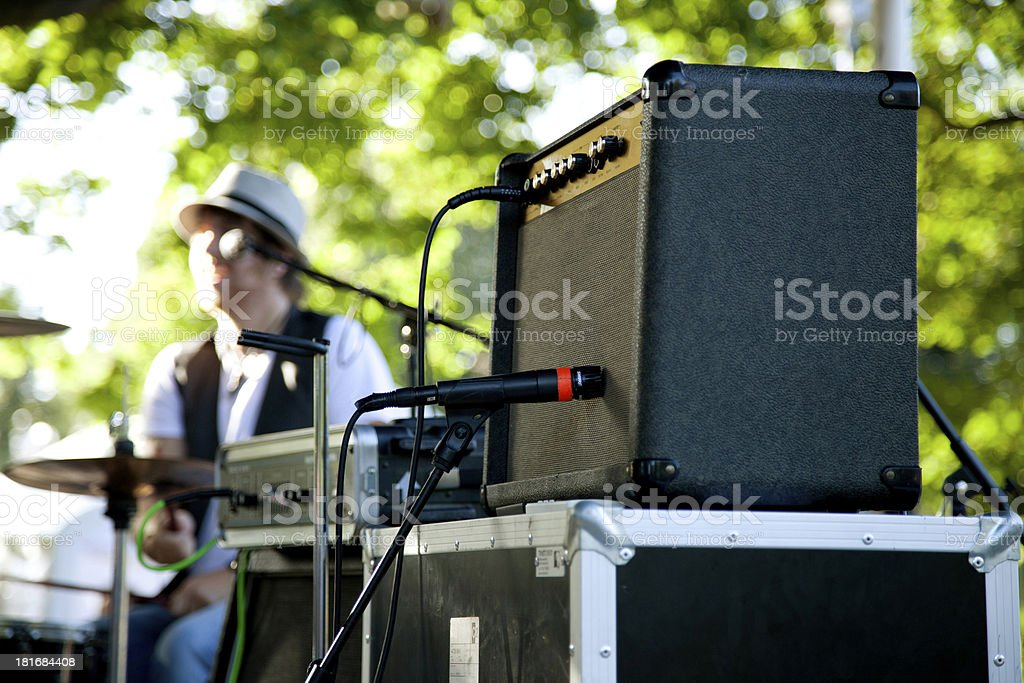 Amplifier on stage stock photo