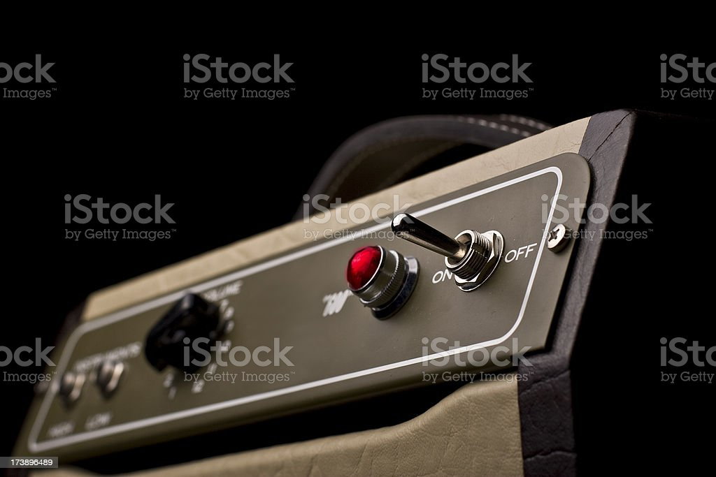 amplifier turned on stock photo
