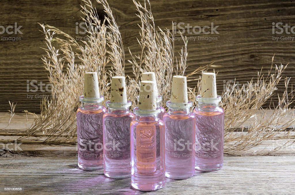 Ampoul from bamboo for dry and damaged hair stock photo