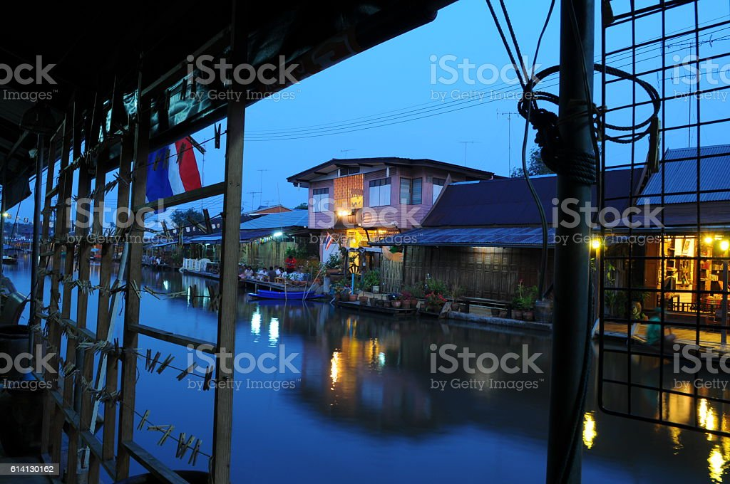 Amprawa floating market stock photo