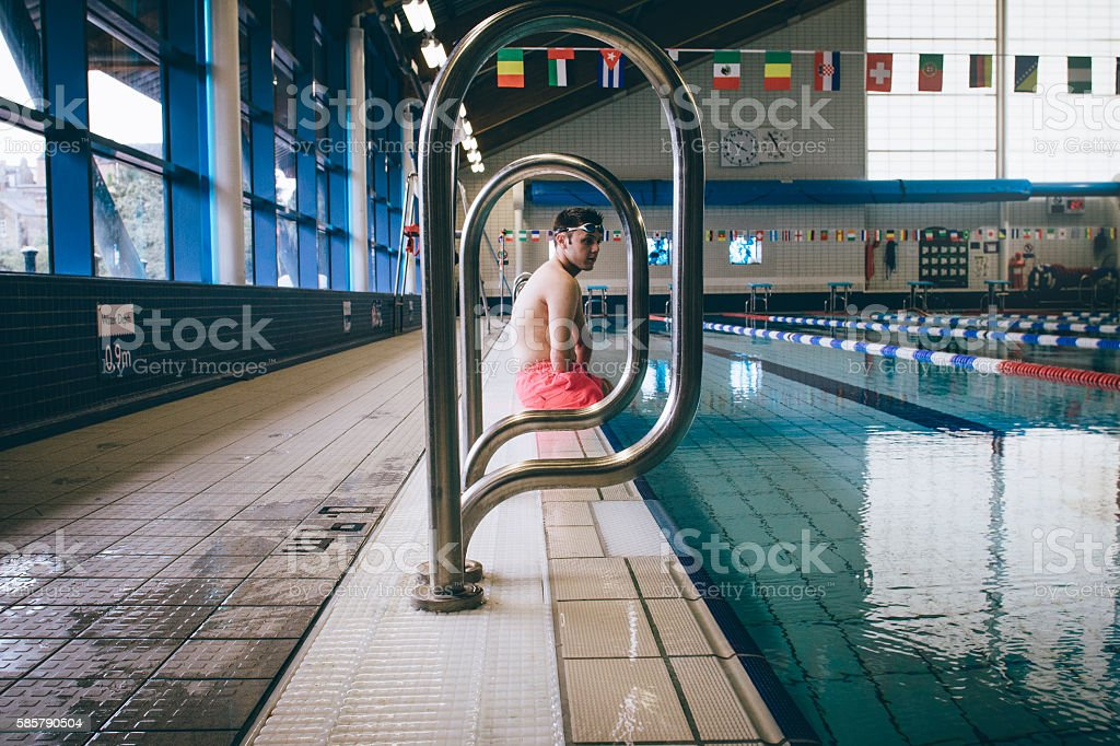 Amputee Professional Swimmer stock photo