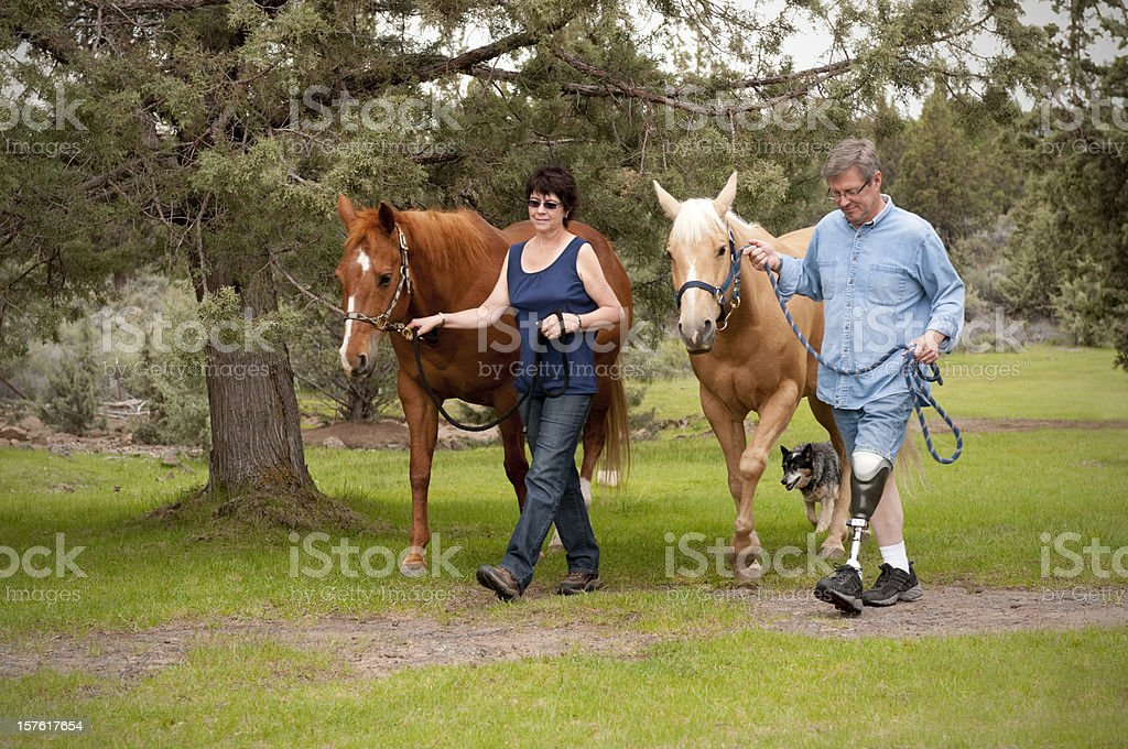 Amputee w/wife, leading horses down a path stock photo