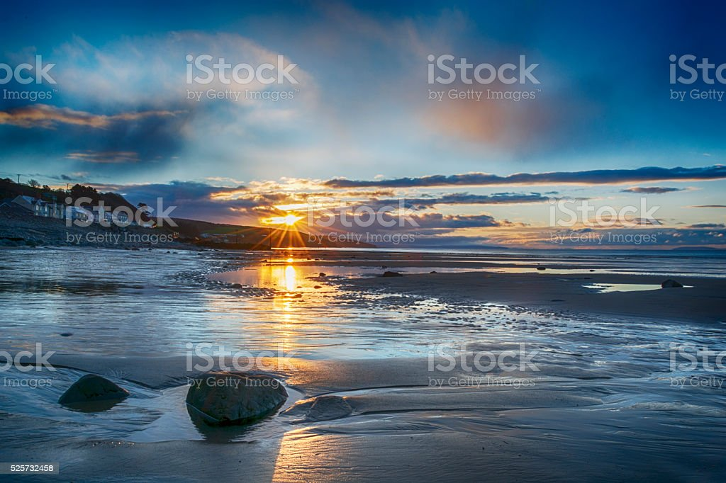 Amroth Beach Sunrise stock photo